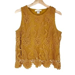Mustard Yellow Floral Crocheted Lace Tank Top M